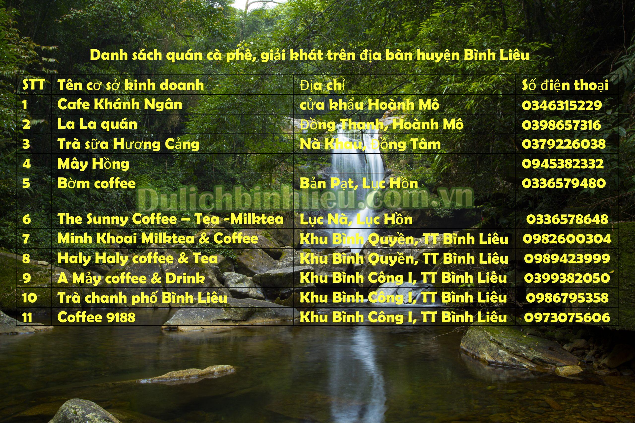 Danh sách quán cà phê, giải khát trên địa bàn huyện Bình Liêu